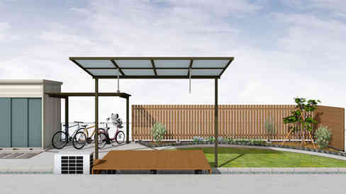 CG:ウッドデッキとテラス屋根、庭