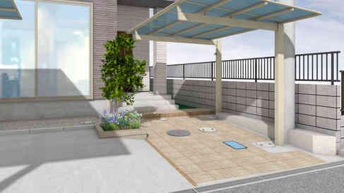 CG:サイクルポート・アプローチ・花壇