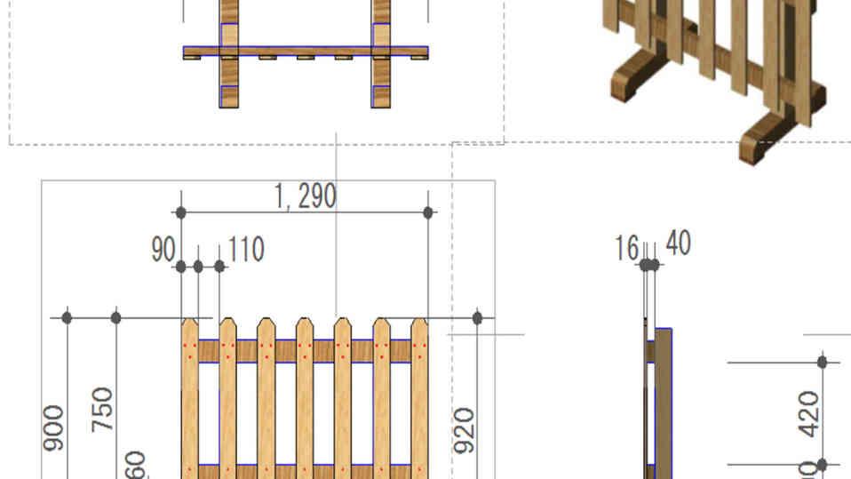 ピケットフェンスの設計図