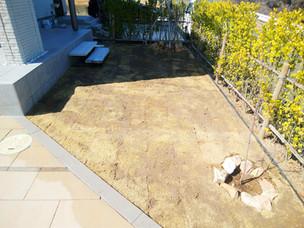 Case51:透水性平板を使用した大型テラスと天然芝(TM9)の庭