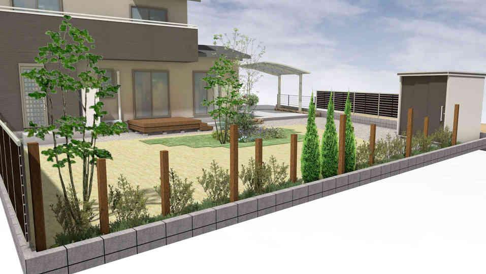 CG:木製支柱と植木