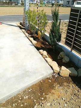 駐車場脇植栽スペース