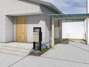 亘理町外構工事|宅配ポストを設置した広いエントランス空間・1