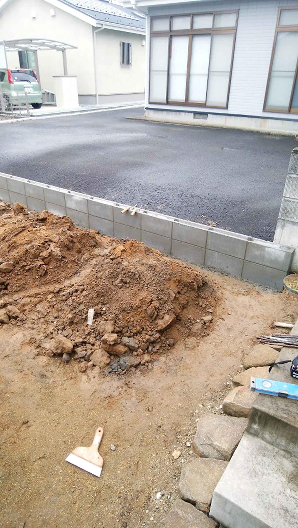土留め2段ブロック