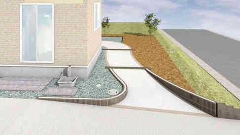 自然石の平板敷き・化粧ブロック・コンクリート枕木
