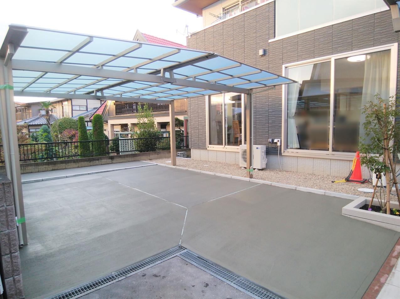 駐車場のコンクリート打設