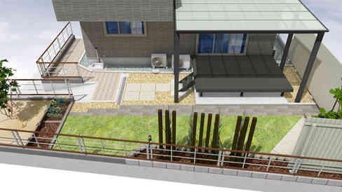 CG:斜め上からの庭