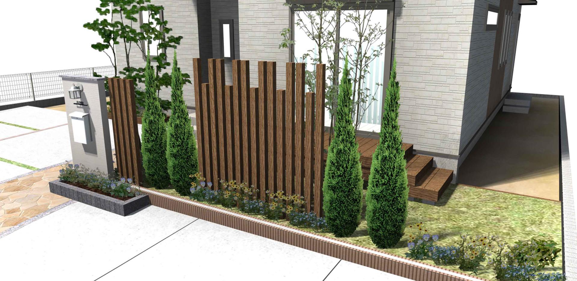 プラン250植木と芝生