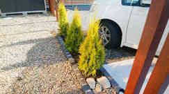 駐車スペース脇のミニ花壇