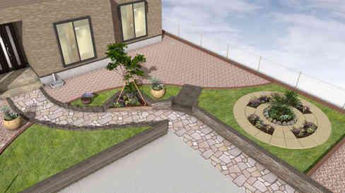 CG:サークル花壇とお庭
