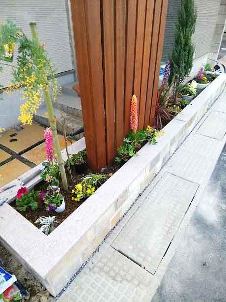 石貼り花壇の植栽