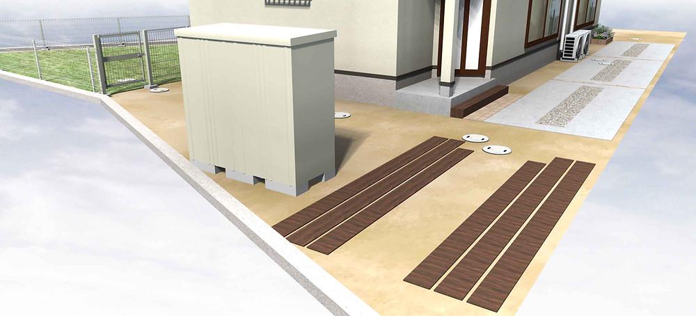 保育室アプローチ&駐車場 外構デザインイメージ