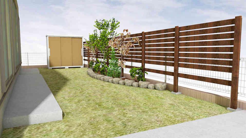 CG:R状の花壇のある芝生と木製フェンスの庭
