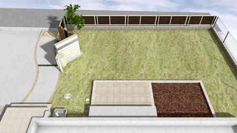 CG:芝生とテラスの庭