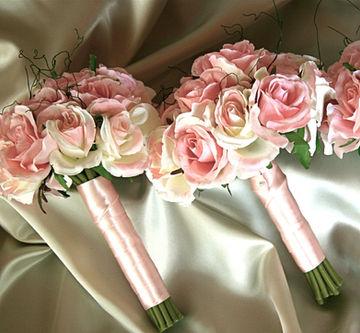 Pink & White Silk Roses