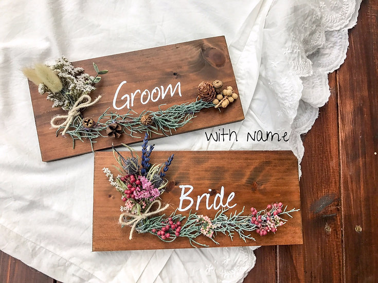 groom & bride sign with name