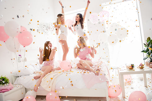confetti, ballons for the bride to be party and the maids of the hen do in the lounge of the villa for rent