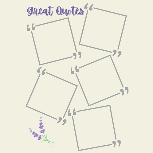 A5 -Bullet Journal Great Quotes - Insert Pages - Half Letter A5