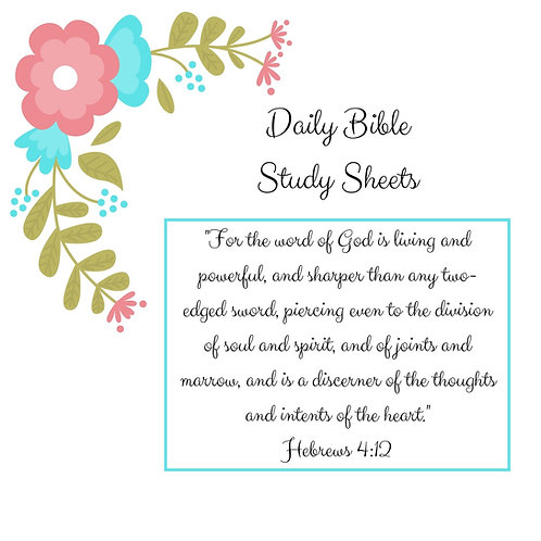 A5 Daily Bible Study Sheets - Teal Flowers - Half Letter Size (A5)