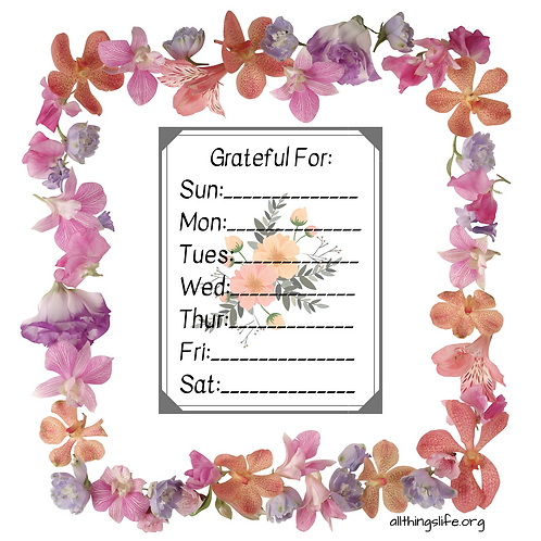 """""""Grateful For"""" Stickers Flowers- 2 Full Pages"""