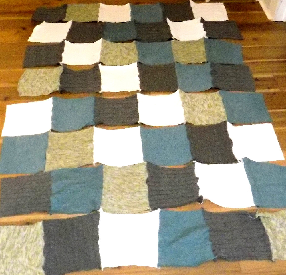 Quilt rows laid out in pattern