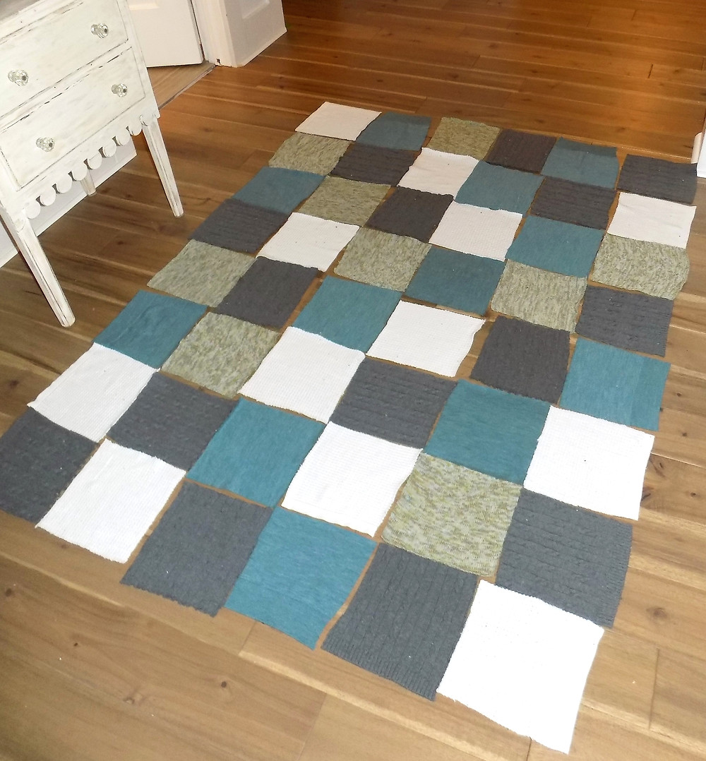 sweater blocks laid out