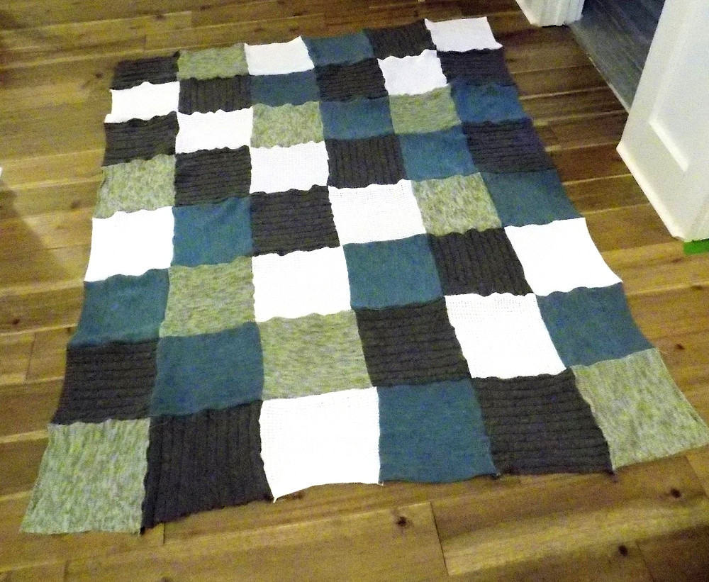 Sweater quilt together before backing & binding