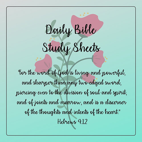 Daily Bible Study Sheets - Pastel & Pink Flowers - Half Letter Size (A5)