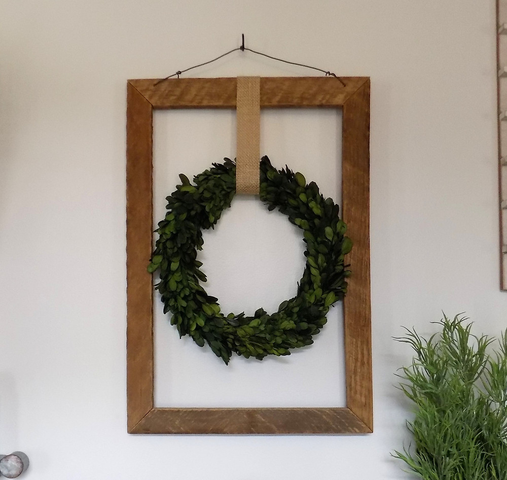 Boxwood Wreath in Rustic Frame