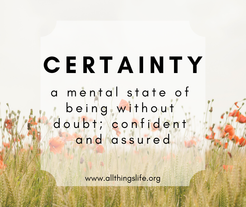 Definition of certainty