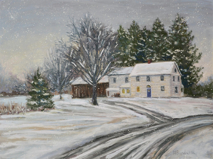 Snowy New England Landscape Painting