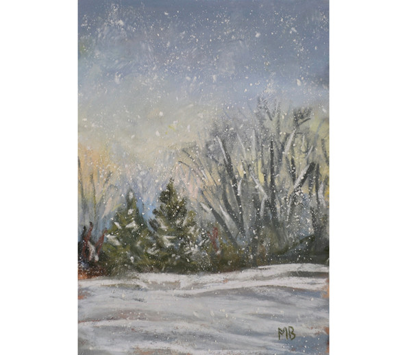 Twilight snow scene with trees and falling snow