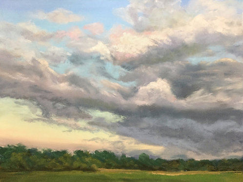 Skyscape, sunset, pastel painting, early sunset sky