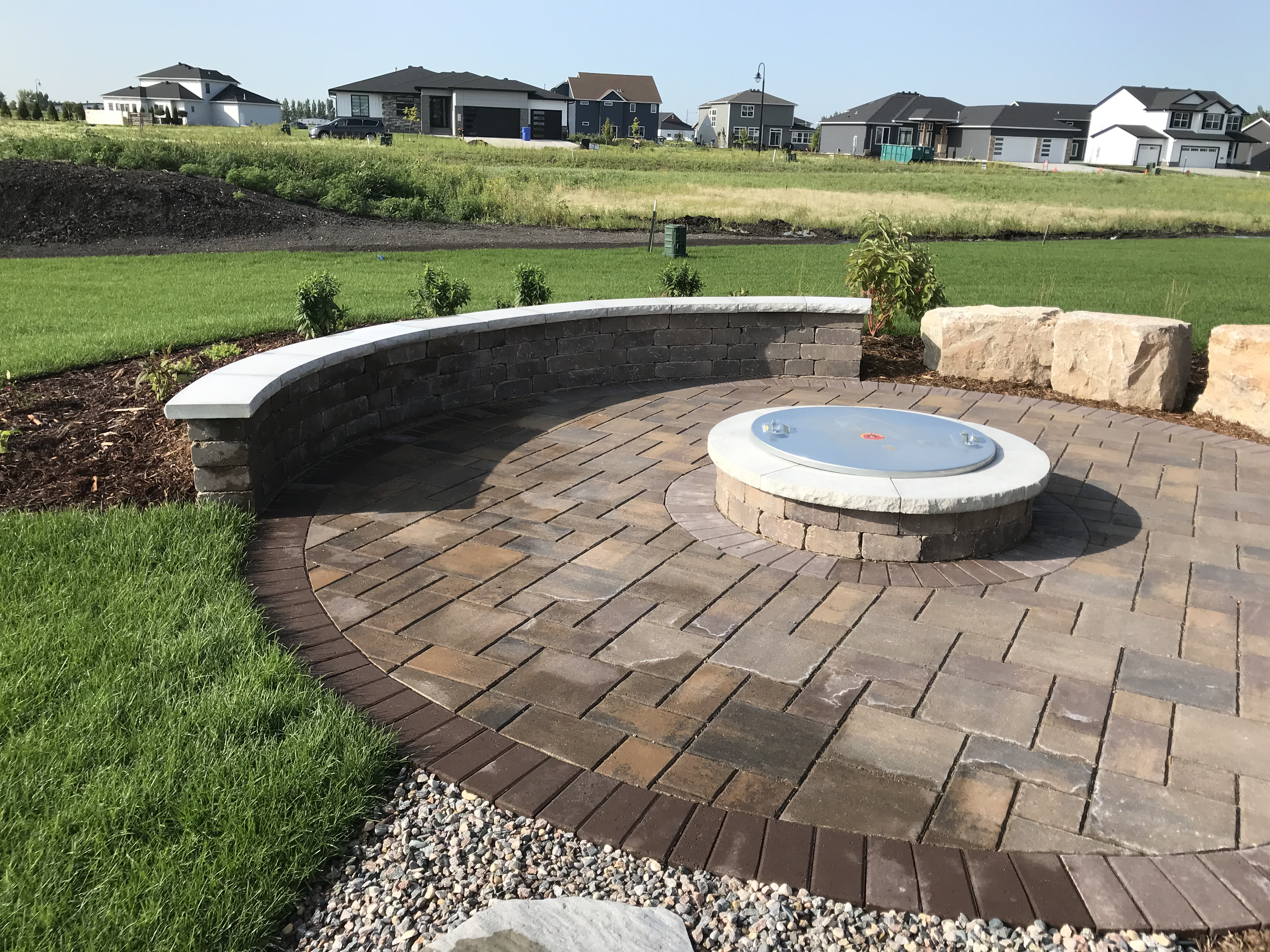 Paver Patio Seating Wall Firepit