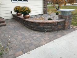 Paver entryway and short retaining wall