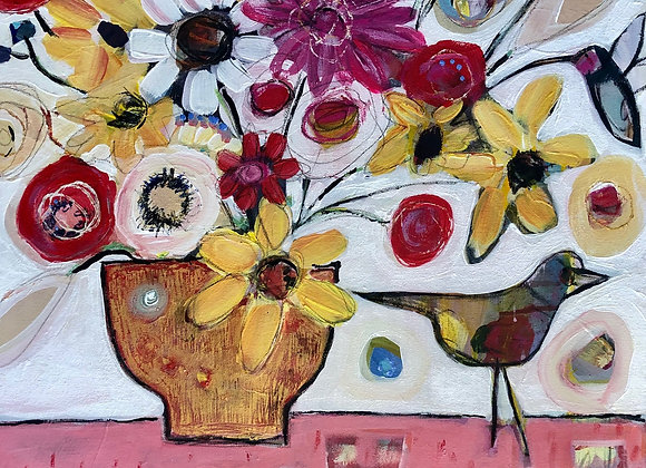 Flowers in a Gold vase...Bird