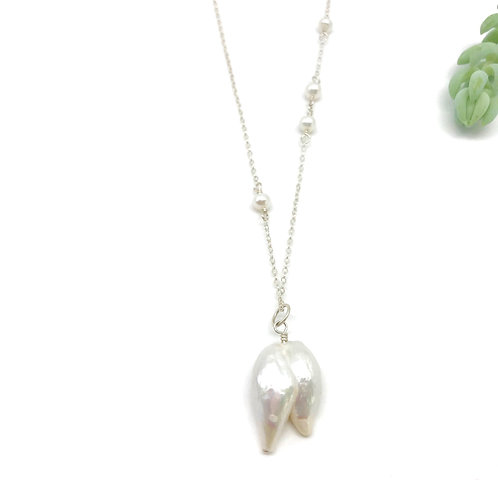JULES White Baroque Pearl Necklace
