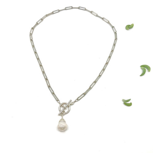 GRACE White Pearl Heavy Chain Necklace