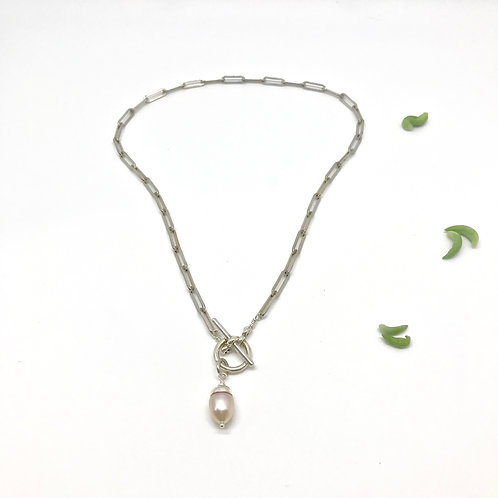 GRACE Pink Pearl Heavy Chain Necklace