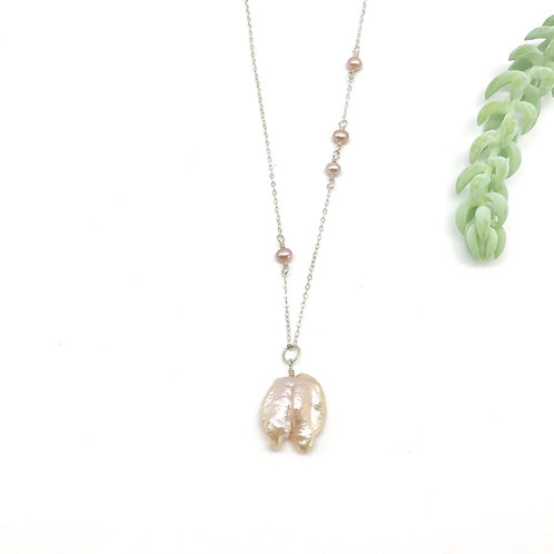 JULES Pink Baroque Pearl Necklace