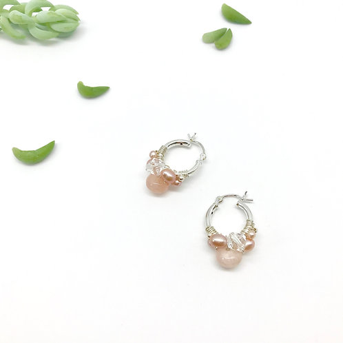 WINIFRED Pink Pearl Hoops