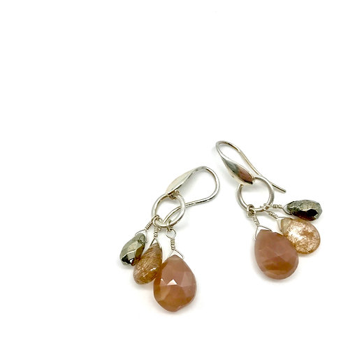 FIONA Chocolate Moonstone Drop Earrings