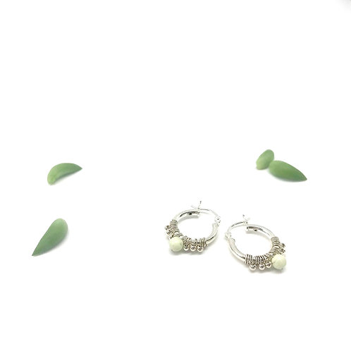 LISE  Yellow Chrysophase Hoops
