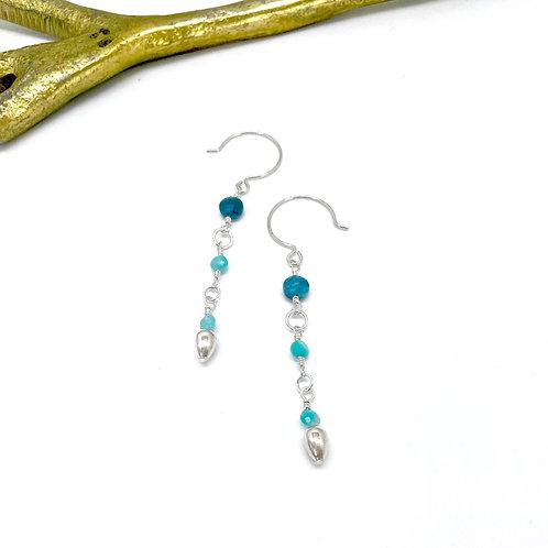 VIVIAN Apatite Long Drop Hook Earrings