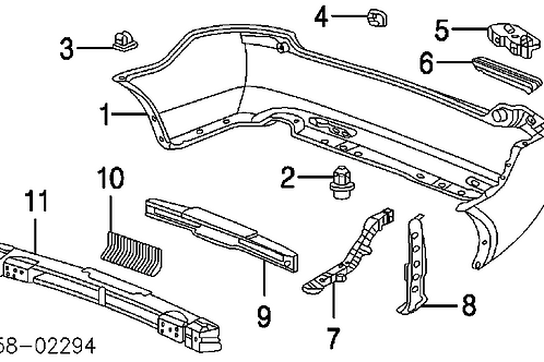 Honda Accord 4d Left Rear Bumper Spacer p/n 71598SEA003