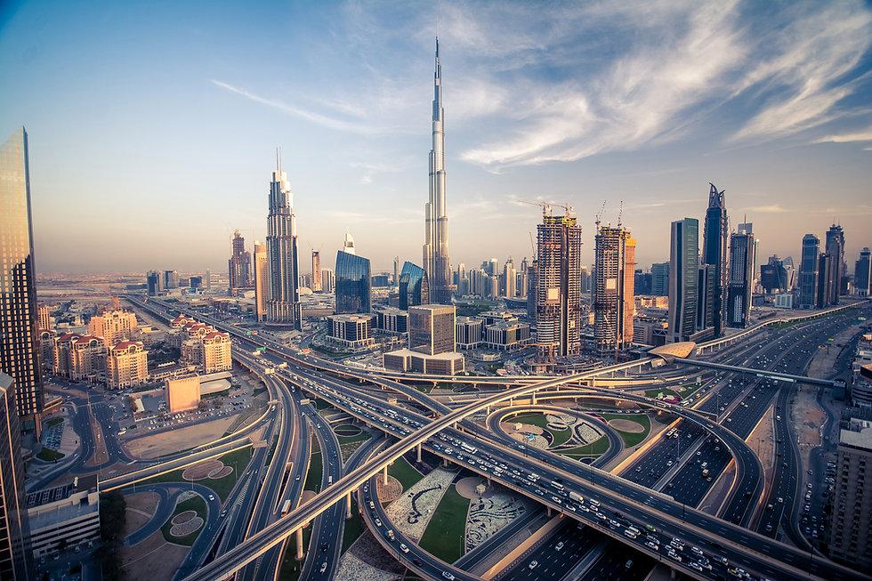 Dubai skyline with beautiful city close