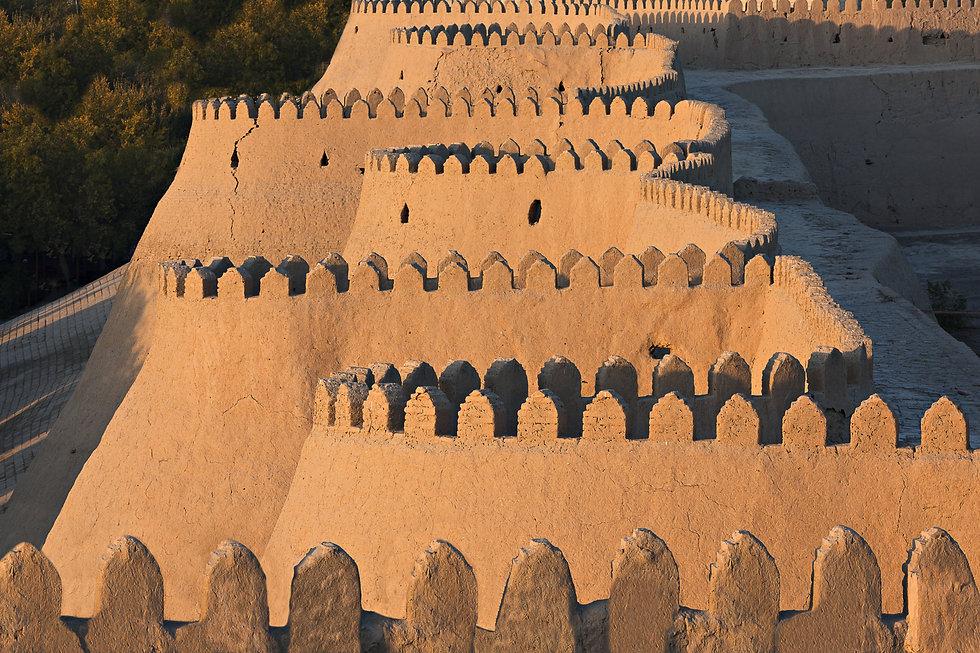 Ancient city walls of Khiva in Uzbekista
