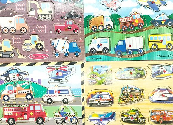 Peg Puzzle Pack - Automobiles, Airplanes, & Trains!