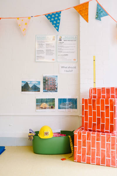 Our building area encourages little ones to get creative and use their large motor skills to build what they see around them.