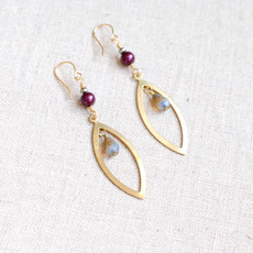 Gold Dangle Earrings with Burgundy Swarovski Pearl and Grey Glass Beads